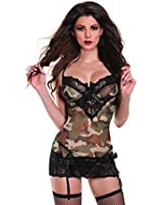 Raveware Lingerie Women's Sexy Camouflage Chemise Lingerie Set with Mathing G-String