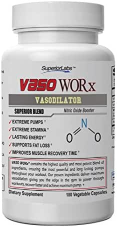 Superior Labs – VASOWORx® – Powerful Nitric Oxide Dietary Supplement – 1,600 mg, 180 Vegetable Capsules – 7 Powerful Ingredients – Increased Energy, Stamina, Muscle Growth and Cardio
