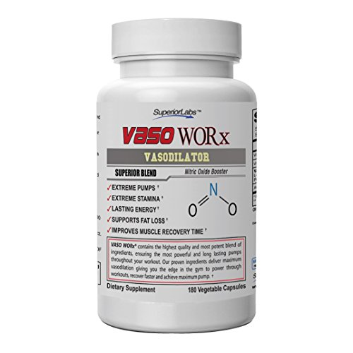 Superior Labs - VasoWORx® - Powerful Nitric Oxide Dietary Supplement - 4,600 mg, 180 Vegetable Capsules - 7 Powerful Ingredients - Increased Energy, Stamina, Muscle Growth and Cardio (Best Vasodilator Pre Workout)