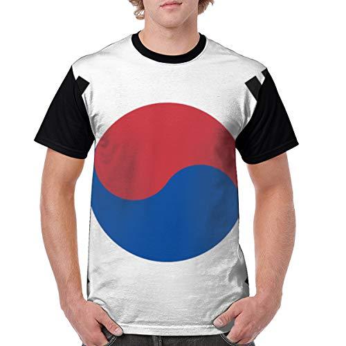 (JUNIY South Korea Flag Men's Cool Raglan Round Neck Short Sleeve Baseball T-Shirt Tee Printed Top Black)