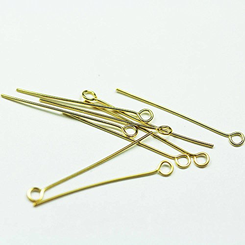 30pcs Gold vermeil on 925 Sterling Silver Jewellery findings Eye Pin,18mm,24gauge, hole: about 2mm - FDGVP004 (Sterling Eye Pin Silver About)