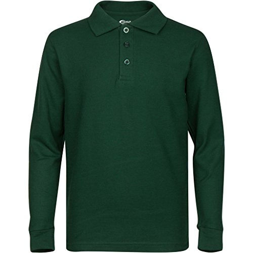 Premium Mens Hunter Green Long Sleeve Polo Shirts - Premium Polo Sleeve Pique