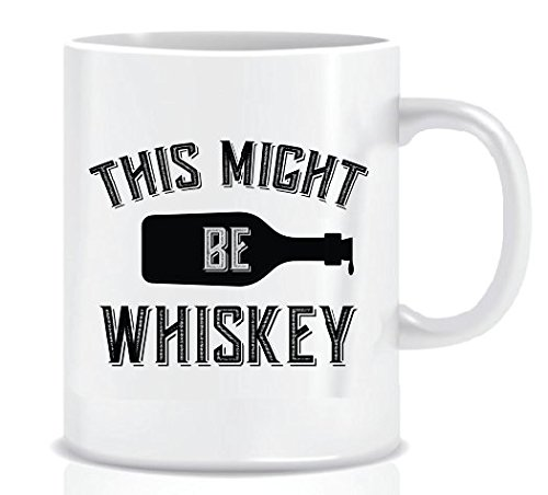 THIS MIGHT BE Whiskey (Black Bottle) - Coffee Mug in Blue Ribbon Gift Box - 11 - Blue Whisky & Black
