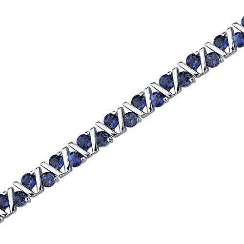 Created Blue Sapphire Duet Bracelet Sterling Silver 6.50 Carats