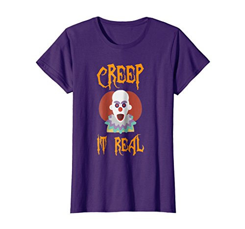 Womens Creep it Real Clown Happy Halloween Shirt - Happy Halloween Large Purple