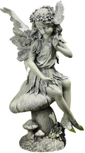 Napco Seated Angel on Mushroom Garden Statue