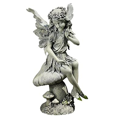 Napco Seated Angel on Mushroom Garden Statue, 16-1/2-Inch Tall by 8-1/2-Inch Diameter