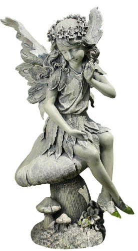 Napco Seated Angel On Mushroom Garden Statue, 16 1/2 Inch Tall