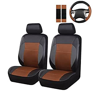 New Arrival- Car Pass 7Pcs Luxurious Leather Two Front Universal Car Seat covers with steering wheel and shoulder covers,airbag compatiable,fit fot suvs,vans,trucks