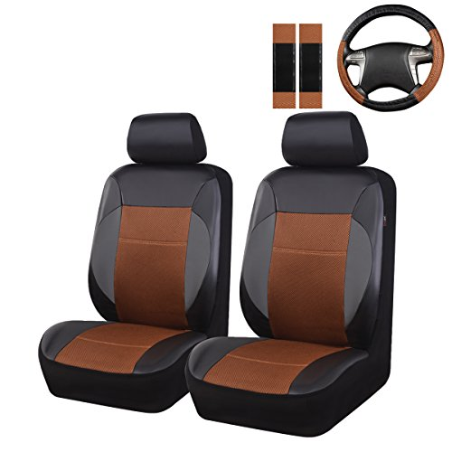 (New Arrival- Car Pass 7Pcs Luxurious Leather Two Front Universal Car Seat Covers with Steering Wheel and Shoulder Covers,airbag compatiable,fit fot suvs,Vans,Trucks)