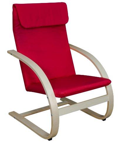Niche Mia Reclining Bentwood Chair,Natural/Red - Birch Reclining Recliner