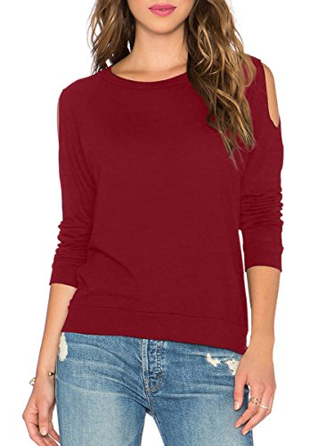 Fihapyli Womens Workout Tee Long Sleeve Running Gym Sports T-Shirt Yoga Top Casual Soft Active Basic Athletic Fitted Plain Tops with Cold Shoulder (Wine Red, XL)