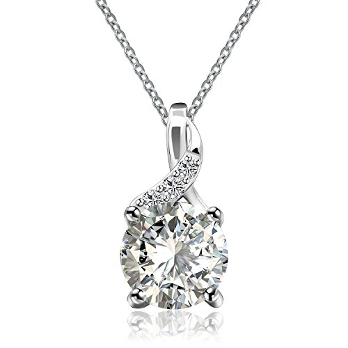 - MONBO Solitaire Pendant Round Cut Birthstone Cubic Zirconia Crystal Pendant Necklace for Girls Women 18'' Sterling Silver (White Crystal)