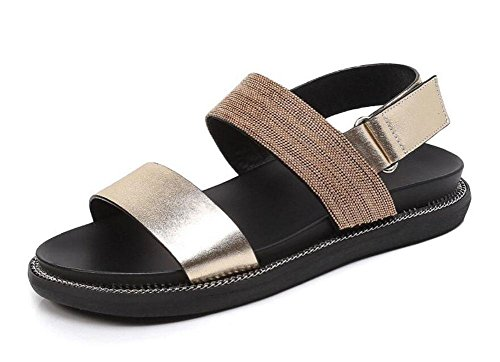 Sandals Velcro Female Women Chain Slingback Sandals Beach Toe Flat Gold Shoes Open Shoes Metal vvq4z