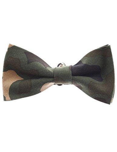 FLATSEVEN Mens Military Camo Pattern Pre-Tied Bow Tie (YB001) Khaki Camo Bow Tie