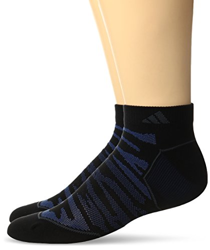 adidas Men's Superlite Prime Mesh Low Cut Socks (2-Pack), Black/Blue/Dark Grey/Collegiate Burgundy, Large