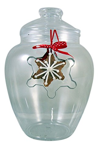 Shatterproof Acrylic Cookie Jar with Christmas Snowflake Cookie Cutter Ornament, 10 Inch