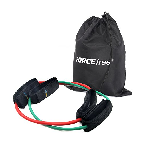 Forcefree+ Resistance Bands - Heavy Duty Tube with Padded Ankle Cuffs for Lower Body Workouts, Muscle Tone, Mobility and Strength - Set of 2