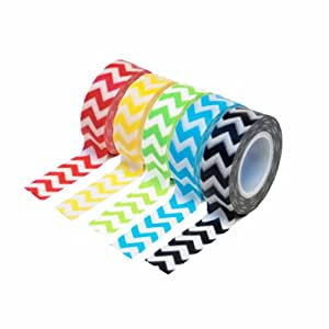 Dress My Cupcake DMC29222 Washi Decorative Tape for Gifts and Favors, Chevron Collection, Set of 5