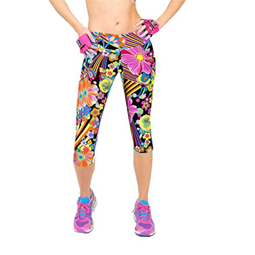 - JOFOW Capri Leggings for Women Comic Graffiti Colorful Flowers Stripe Print Skinny Stretch Workout Sport Yoga Midi Pants (XL,Multicolored)