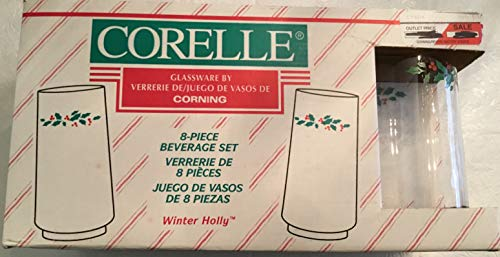 Retro 8-Piece Glassware Corelle Winter Holly 16 Oz Glasses in Package Tumblers