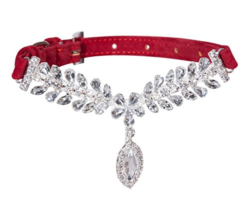Designer Dog Collars - EXPAWLORER Red Fashion Jeweled Diamante Dog Cat Puppy Collars Necklace Style