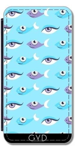 Leder Flip Case Tasche Hülle für Apple Iphone 7 Plus / 8 Plus - Spaßmuster Der Augen Und Fisch by Boriana Giormova