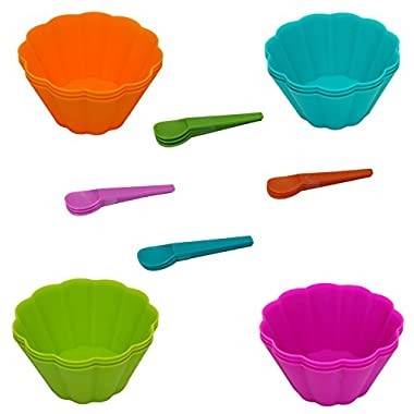 24 Piece Set of Disposable Plastic Mini Ice Cream Bowls and Spoons in Assorted Colors
