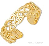 Toe Ring in 14k Yellow Gold Shiny Cuff Type with Pattern