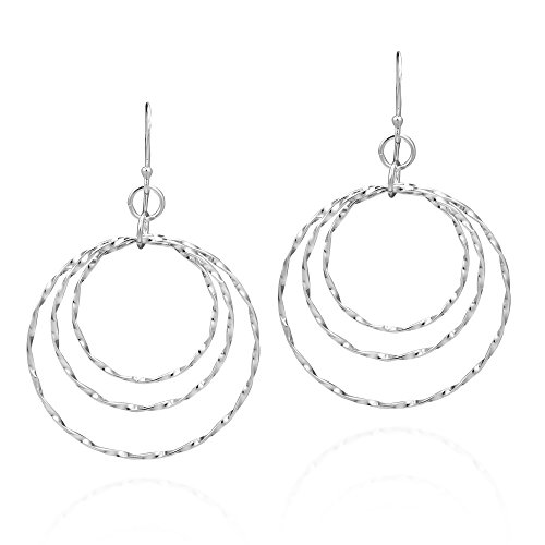 Textured Comets Triple Circle .925 Sterling Silver Dangle Earrings ()