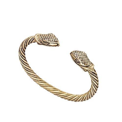 - Vintage Viking Pagan Snake Head Screw Metal Cuff Bangle Wristband Bracelet Jewelry (Antique Gold)
