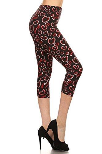 Hearts Pants Capri (Leggings Depot Women's Plus Size High Waisted Capri Print Leggings (Love Hearts))