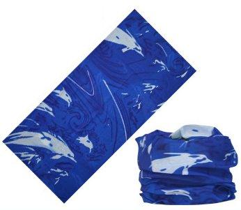 (LEFV trade; 16-in-1 Headband Ocean Design Versatile Magic Scarf Bandana Tube Headwear Seamless Neck Gaiter Balaclava Helmet Liner Face Mask for Outdoor Sports Activity Blue Dolphin)