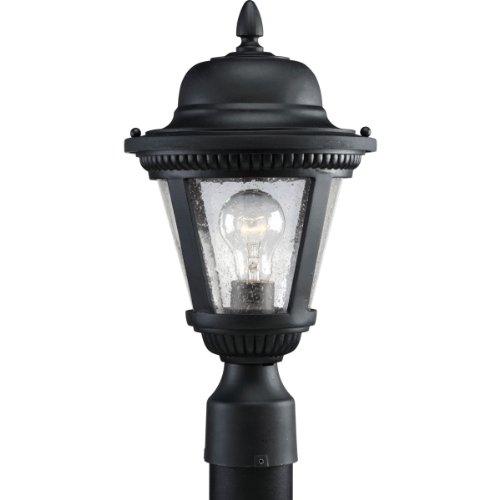 Lighting Lights Progress Post - Progress Lighting P5445-31 1-Light Cast Post Lantern with Clear Seeded Glass, Textured Black