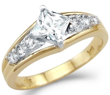 Size- 5.5 - Solid 14k Yellow and White Gold Princess Cut Engagement CZ Cubic Zirconia Ring 1.0 ct