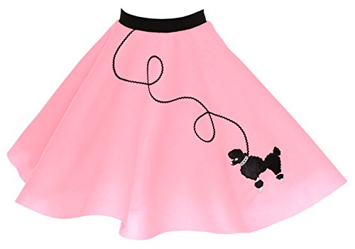 Poodle Skirt for Girls Size Large 10/11/12 Light Pink (50s Pink Poodle Girls Costume)