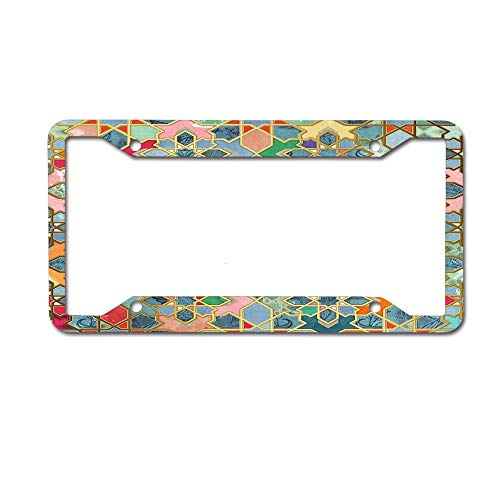 HappyToiletLidCoverX Gilt & Glory - Colorful Moroccan Mosaic License Plate Novelty Auto Car Tag Vanity Gift for Police Officer 4 Holes ()