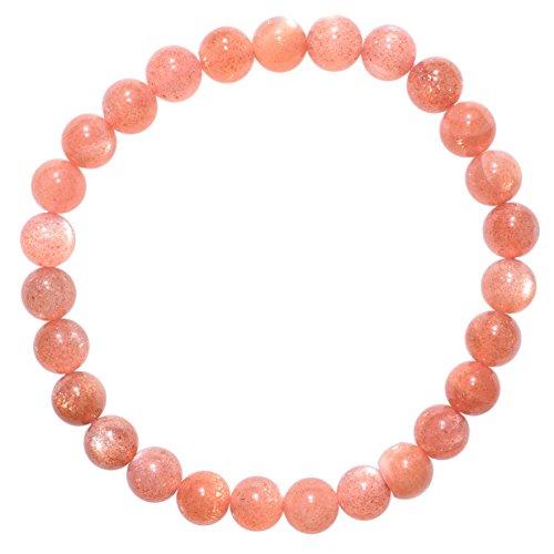 - Zenergy Gems Charged Natural Peach Moonstone 5mm-7mm Bead Bracelet