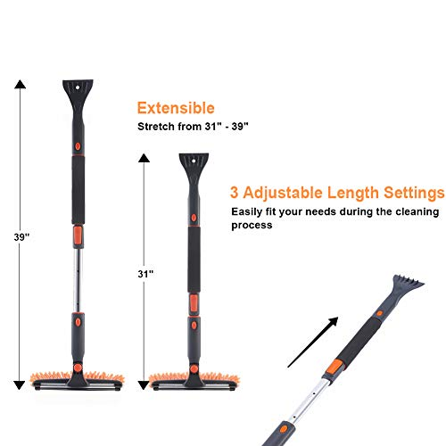 """SUPERJARE 39"""" Telescoping Snow Brush with Integrated Ice Scraper & Squeegee Head, Extendable Snow Broom with Foam Grip Suitable for Small Car, Orange & Gray"""