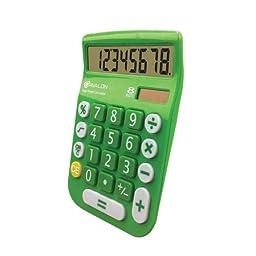 Office+Style 8 Digit Dual Powered Desktop Calculator, LCD Display, Green