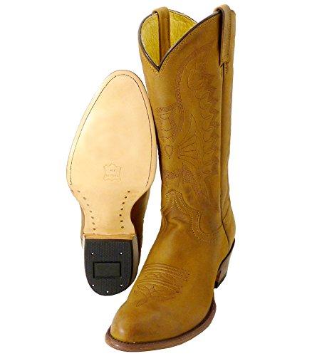 Western-shop Western Boots Buck John - Stivali Da Cowboy O Stivali Da Cowboy E Stivali Da Bici Stivali Western Da Uomo E Da Donna Marrone
