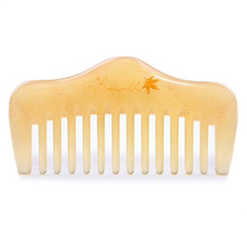 Breezelike Hair and Beard Comb - Wide Tooth Sheep Horn Comb for Detangling - No Static Mini Pocket Comb for Men, Women and Kids - Horn Comb
