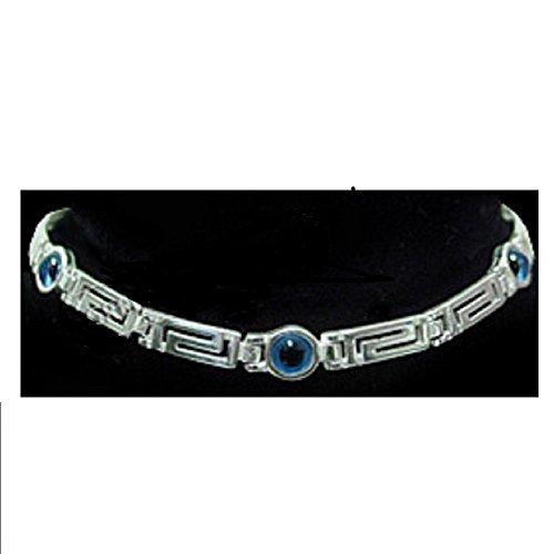 - Greek Sterling Silver Mati Collection - Bracelet w/Greek Key and 3 Mati Evil Eye