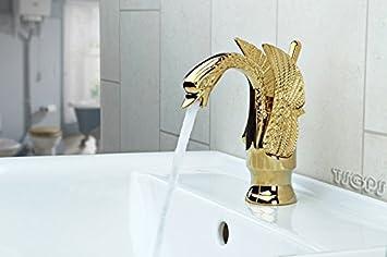 Romantische Retro Bad Armatur Schwan In Gold Einhebel Waschtisch Badezimmer