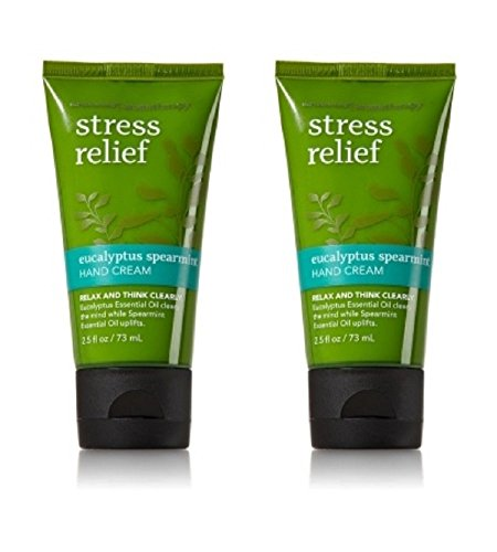 Set of 2 Bath and Body Works Aromatherapy Eucalyptus Spearmint Stress Releif Hand Cream 2.5 Ounce Each Perfect Travelers