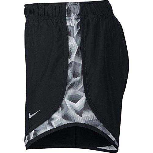 Nike Womens Vochtafvoerende Colorblock Shorts Zwart / Stealth / Zwart / Wolf Grijs