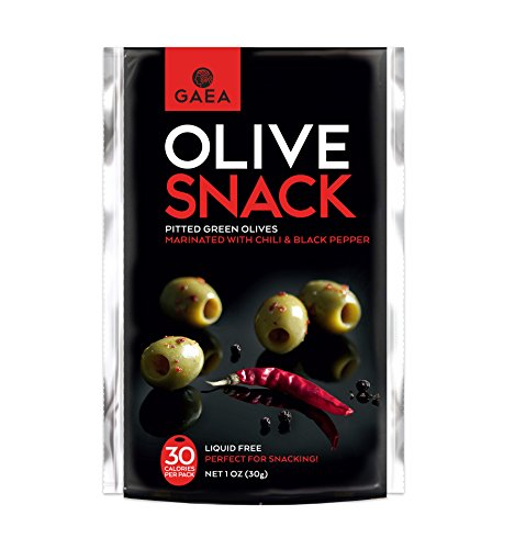 Gaea Snack Pack Pitted Green Olives with Chili & Black Pepper - 10 Convenient 1 oz Packs by Gaea