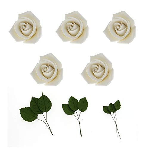 - Global Sugar Art Peace Rose White Sugar Flowers 5 Count with Leaves