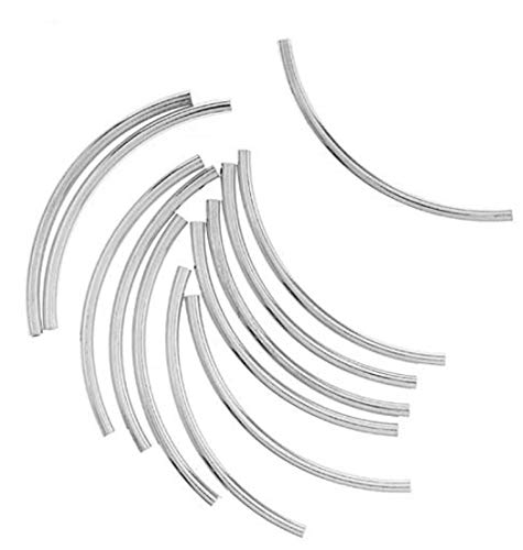 30pcs x .925 Sterling Silver Sleek Curved Noodle Tube Beads 30mm x 2mm Tube (~1.6mm Hole) SS240