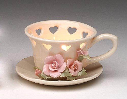 vory Teacup with Rose Tea Light Holder ()